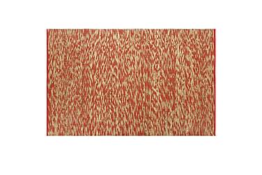 Handgjord jutematta röd och naturlig 120x180