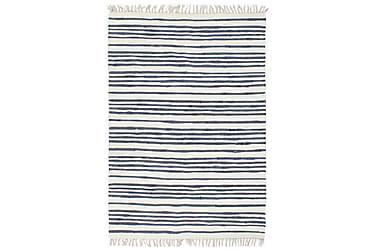 Handvävd matta Chindi bomull 120x170 blå och vit