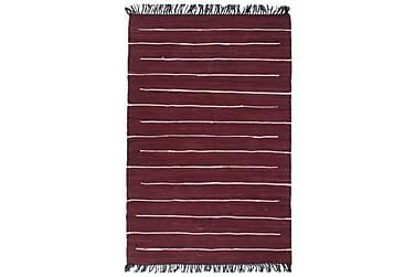 Handvävd matta Chindi bomull 160x230 vinröd