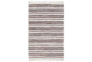 Handvävd matta Chindi bomull 160x230 vinröd och vit