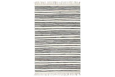 Handvävd matta Chindi bomull 80x160 antracit och vit