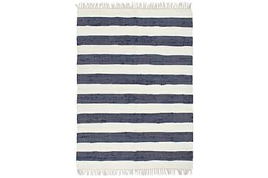 Handvävd matta Chindi bomull 80x160 blå och vit