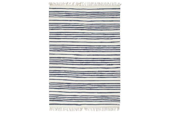 Handvävd matta Chindi bomull 80x160 blå och vit - Heminredning - Mattor - Handvävda mattor