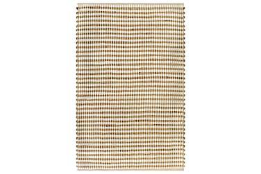 Matta handvävd jute 120x180 beige och vit