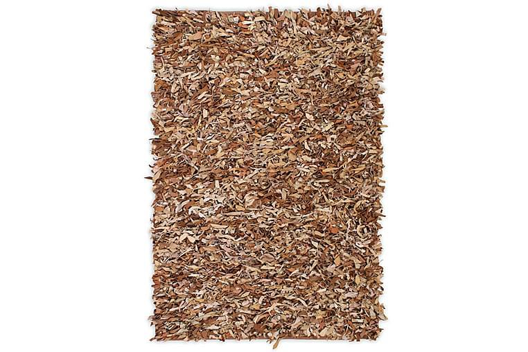Shaggy-matta äkta läder 160x230 cm ljusbrun - Beige - Heminredning - Mattor - Ryamatta