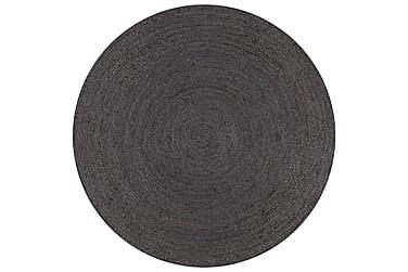 Handgjord jutematta rund 90 mörkgrå