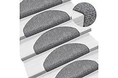 Trappstegsmattor självhäftande 15st brodyr 65x21x4cm ljusgrå
