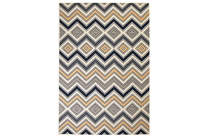 Aurick Modern Matta 120x170 Sicksackdesign - Brun/Svart/Blå - Heminredning - Mattor - Små mattor