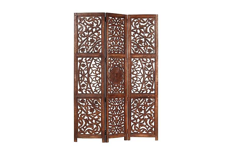 Rumsavdelare 3 paneler handsnidad brun 120x165 cm mangoträ - Brun - Heminredning - Småmöbler - Rumsavdelare