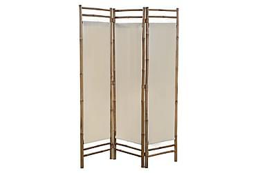 Rumsavdelare 3 paneler hopfällbar bambu och kanvas 120 cm