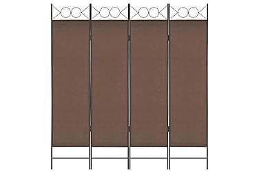 Rumsavdelare 4 paneler brun 160x180 cm