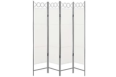 Rumsavdelare 4 paneler vit 160x180 cm tyg