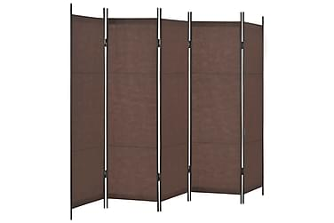 Rumsavdelare 5 paneler brun 250x180 cm