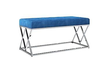 Bänk 97 cm blå sammetstyg och rostfritt stål