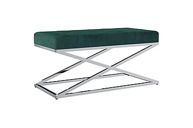 Bänk 97 cm grön sammetstyg och rostfritt stål