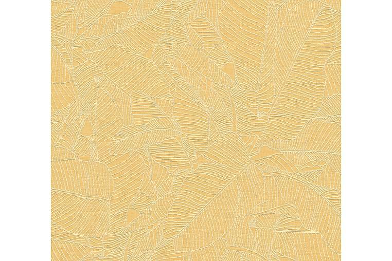 Blommig Tapet Linné Style Ovävd Gul - AS Creation - Heminredning - Tapeter - Mönstrade tapeter