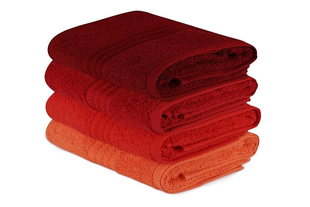 Hobby Handduk 50x90 cm 4-pack - Orange/Röd/Rosa - Heminredning - Textilier - Badrumstextilier