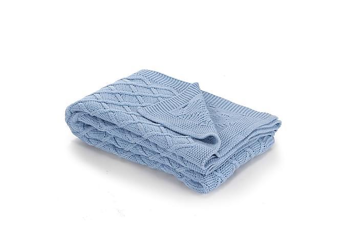 Strikket pledd 130x171 cm rutete design blå - Heminredning - Textilier - Filtar & plädar