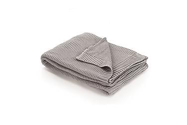 Strikket pledd bomull 130x171 cm grå