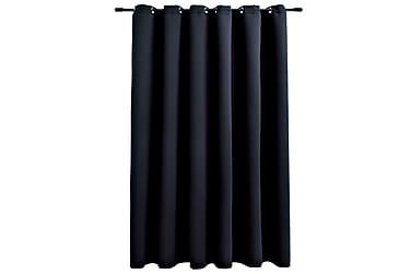 Mörkläggningsgardiner med metallringar svart 290x245 cm