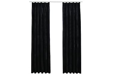 Mörkläggningsgardiner 2 st med krokar sammet svart 140x225