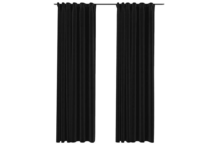 Mörkläggningsgardiner med krokar 2 st antracit 140x225 cm - Antracit - Heminredning - Textilier - Gardiner