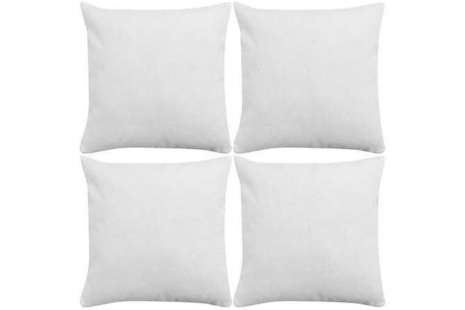 Kuddöverdrag 4 st linne-design 80x80 cm vit - Vit - Heminredning - Textilier - Prydnadskuddar