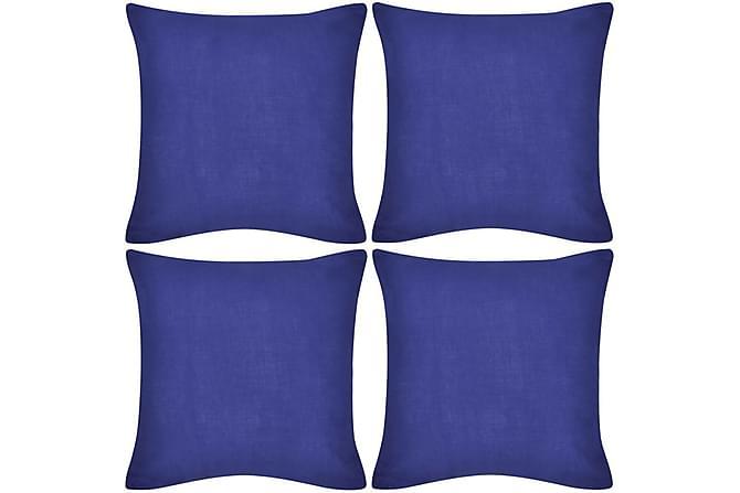 4 Kuddöverdrag i bomull blåa 50 x 50 cm - Blå - Heminredning - Textilier - Prydnadskuddar