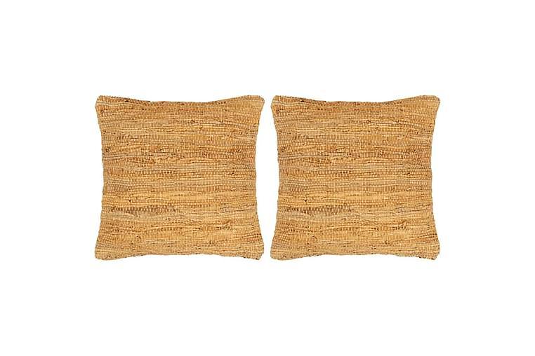 Kuddar 2 st chindi ljusbrun 45x45 cm läder och bomull - Brun - Heminredning - Textilier - Prydnadskuddar