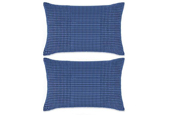 Kudde 2 st velour blå 40x60 cm - Blå - Heminredning - Textilier - Prydnadskuddar