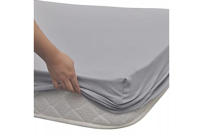 Dra-på-lakan 2 st Bomull Jersey 160 gsm 180x200-200x220cm - Grå - Heminredning - Textilier - Sängkläder