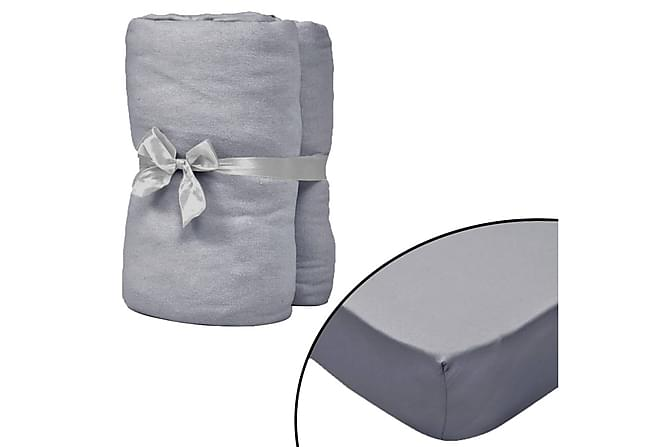 Dra-på-lakan för vattensäng 2 st 180x200cm bomullsjersey grå - Grå - Heminredning - Textilier - Sängkläder