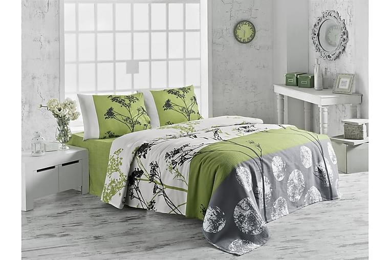 Victoria Överkast Dubbelt 200x230 cm - Vit/Grön/Grå/Svart - Heminredning - Textilier - Sängkläder
