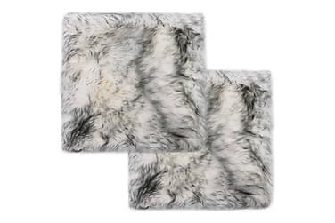 Sittdynor 2 st mörkgrå melange 40x40 cm äkta fårskinn