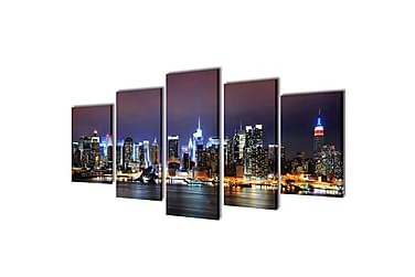 Canvastavlor set om 5 New York Skyline 100 x 50 cm