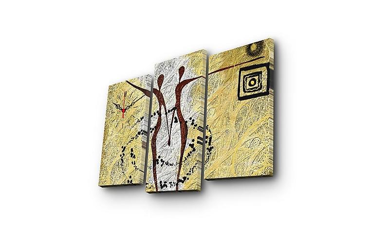 Dekorativ Canvasmålning med Klocka 3 Delar - Flerfärgad - Heminredning - Väggdekor - Klockor & väggklockor