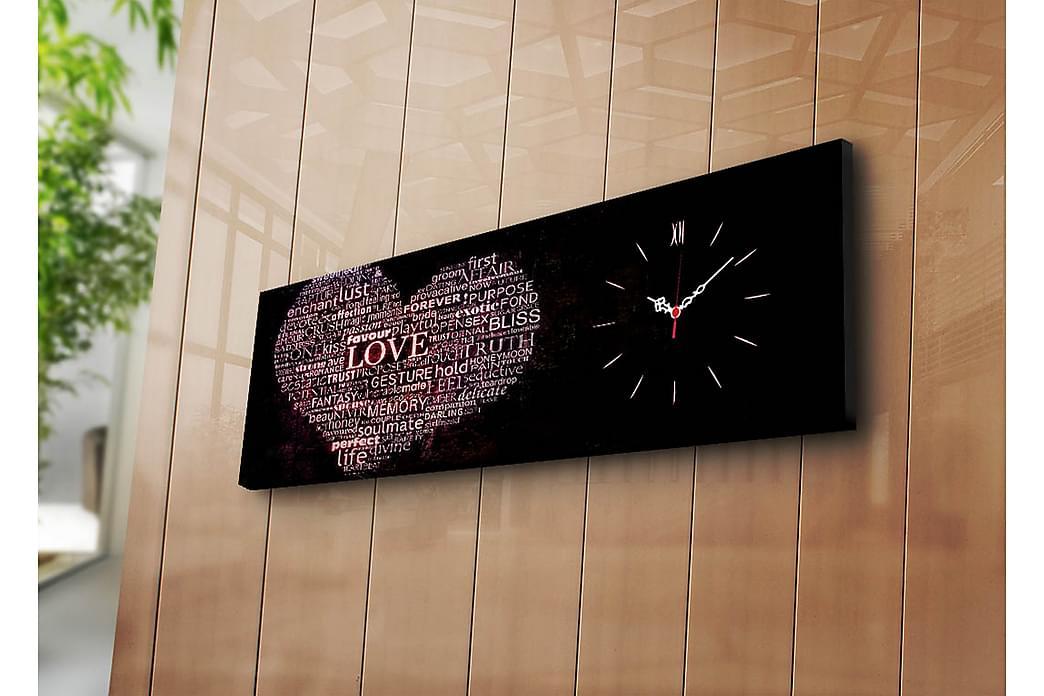 Dekorativ Canvasmålning med Klocka - Flerfärgad - Heminredning - Väggdekor - Klockor & väggklockor