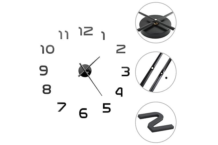 Väggklocka 3D modern design 100 cm XXL svart - Svart - Heminredning - Väggdekor - Klockor & väggklockor
