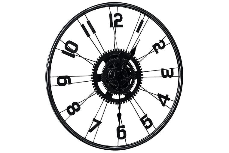 Väggklocka svart 60 cm metall - Svart - Heminredning - Väggdekor - Klockor & väggklockor