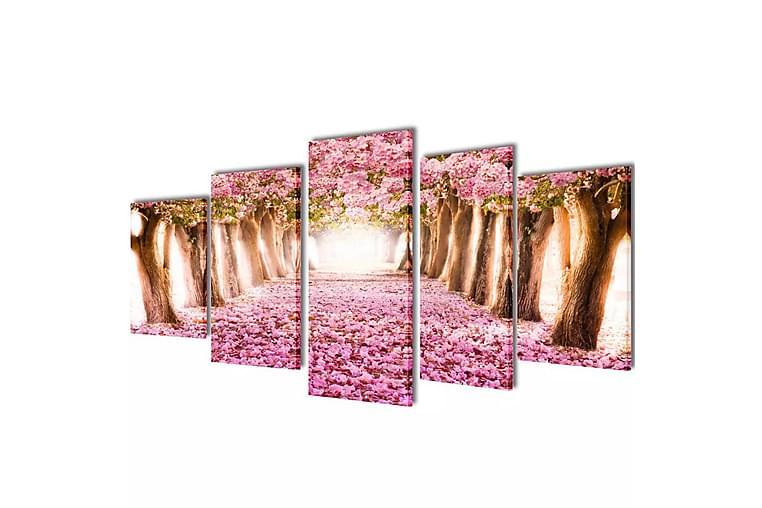 Canvastavlor körsbärsblom 5 st 100 x 50 cm