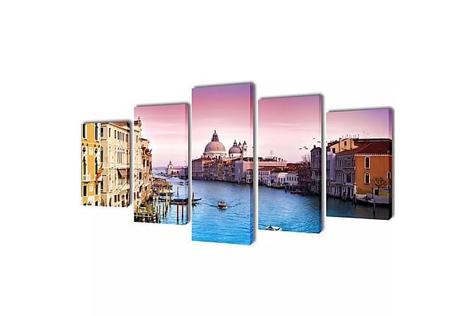 Canvastavlor set om 5 Venedig 200 x 100 cm - Flerfärgad - Heminredning - Väggdekor - Posters