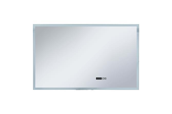 Badrumsspegel LED med touch-sensor och tidsdisplay 100x60 cm - Silver - Heminredning - Väggdekor - Speglar