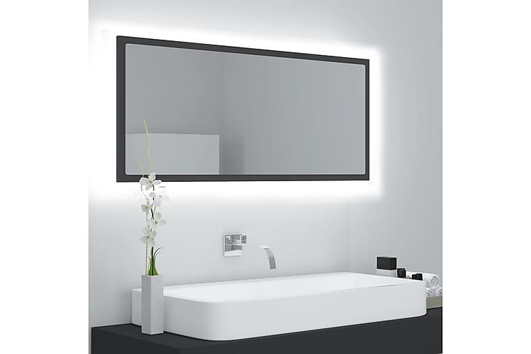 Badrumsspegel med LED grå 100x8,5x37 cm spånskiva - Grå - Heminredning - Väggdekor - Speglar
