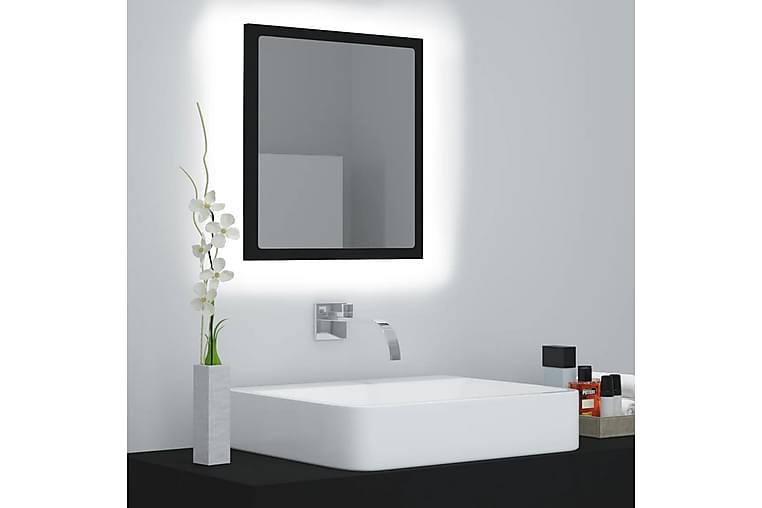 Badrumsspegel med LED svart 40x8,5x37 cm spånskiva - Svart - Heminredning - Väggdekor - Speglar
