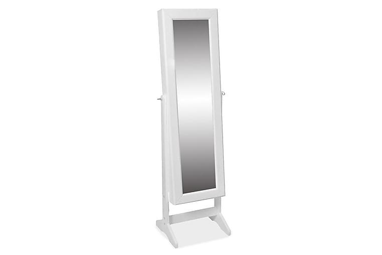 Fristående smyckesskåp med spegel vit