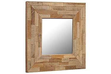 Spegel i återvunnen teak 50x50 cm