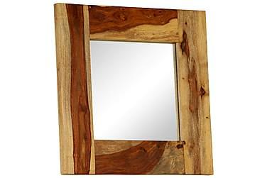 Spegel i massivt sheshamträ 50x50 cm