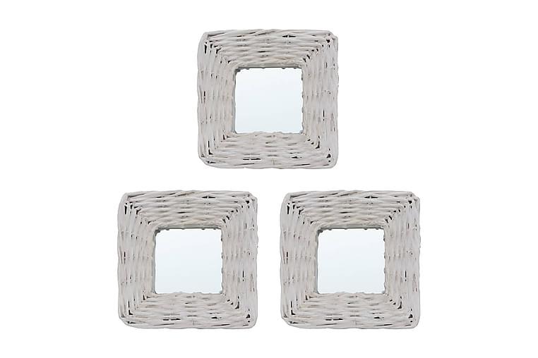 Speglar 3 st vit 15x15 cm korgmaterial - Vit - Heminredning - Väggdekor - Speglar