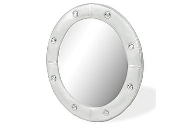 Väggspegel konstläder 40 cm blank silver