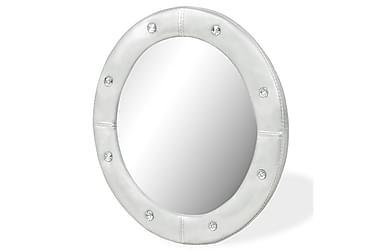 Väggspegel konstläder blank silver 60 cm